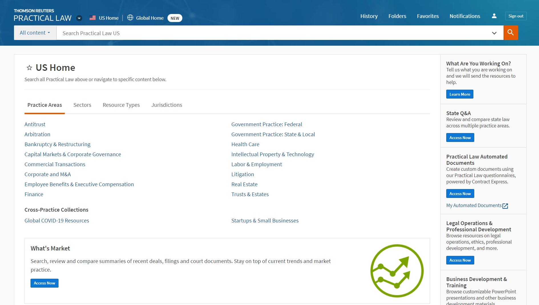 Screenshot of Westlaw Edge homepage